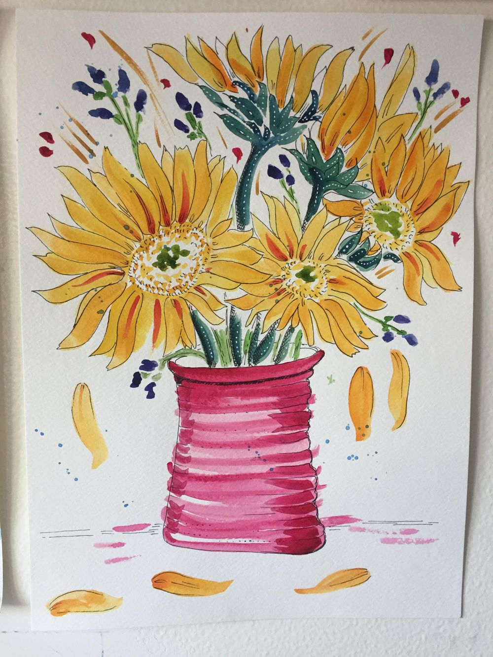 sunflowers in a vase - image 2 - student project