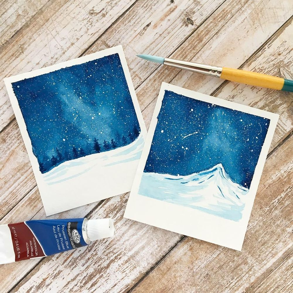 """""""Snowy Galaxy Landscape Painting with Watercolors"""" Class by Zaneena Nabeel - image 1 - student project"""