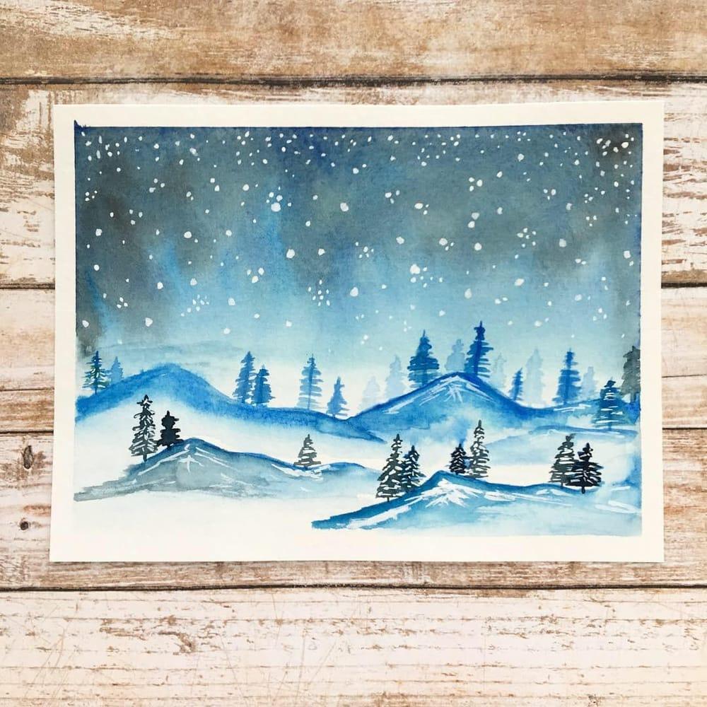 """""""Painting a Winter Landscape & Starry Night Sky"""" Class by Jana Bodin - image 1 - student project"""
