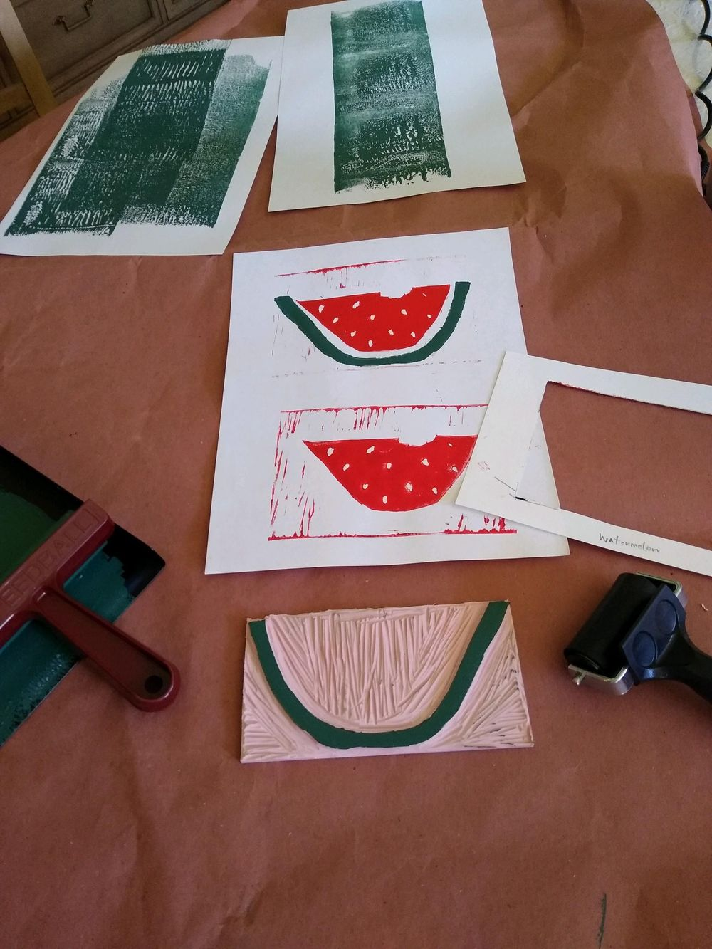 Two-Color Block Print (Watermelon) - image 1 - student project