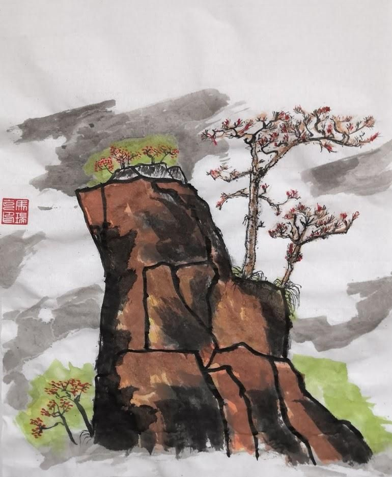 Chinese mountains painting - image 1 - student project