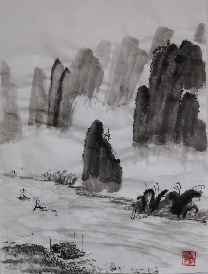 Chinese mountains painting - image 2 - student project