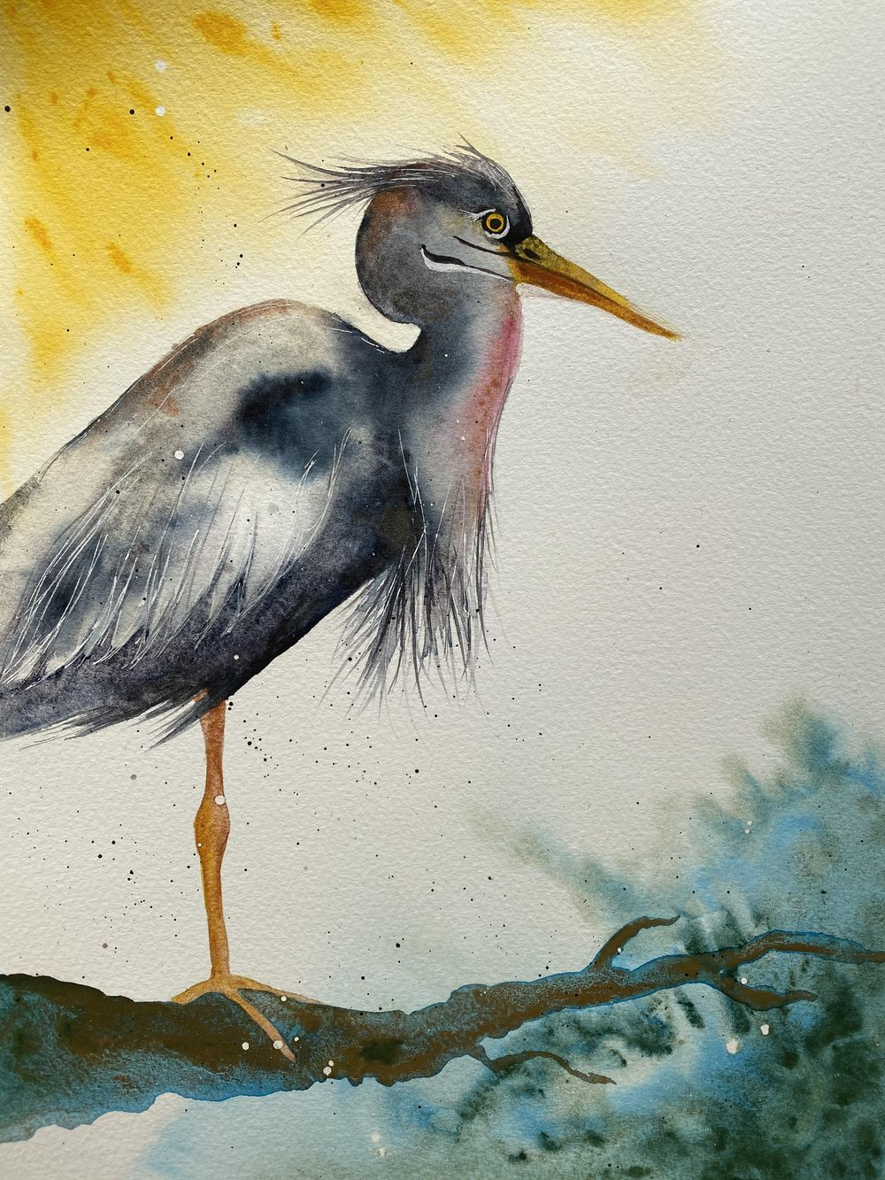 Fantasy Heron - Free Flow Watercolour - image 1 - student project