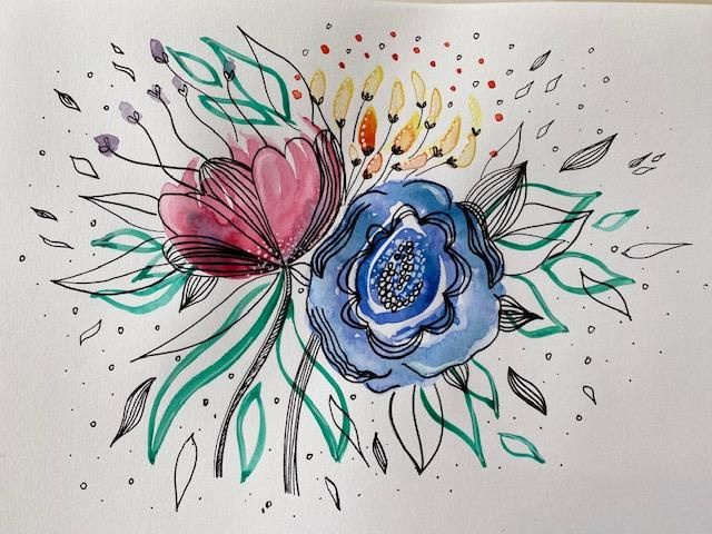Floral Illustration in Watercolour & Ink - image 2 - student project