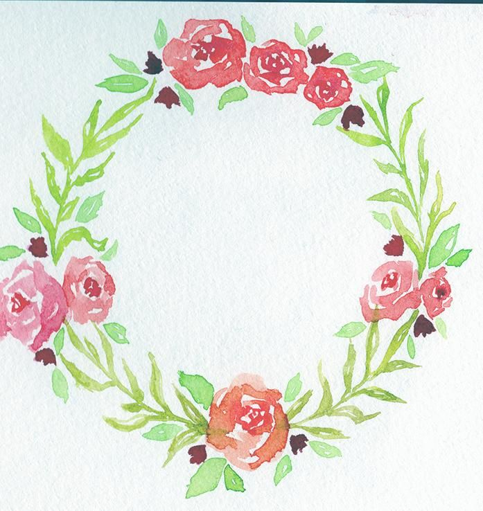 Floral Watercolor Wreath - image 2 - student project
