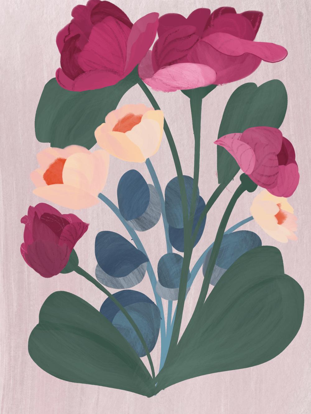 modern gouache florals bouquet - image 1 - student project