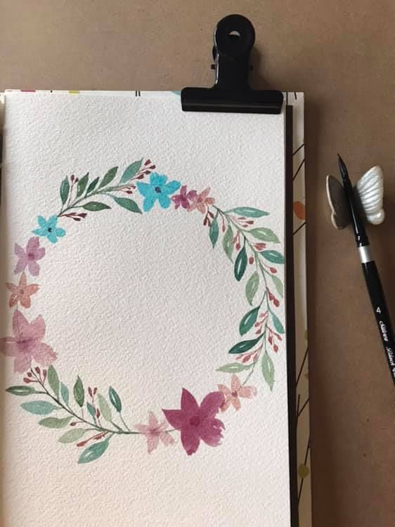 Flower Watercolor Wreath - image 1 - student project