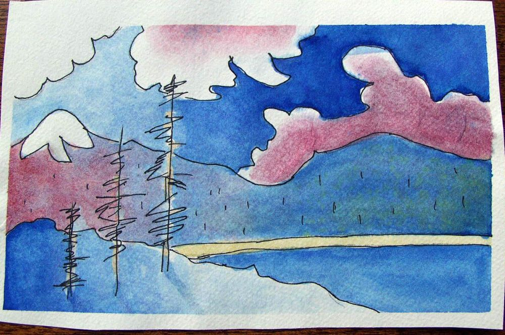 First Landscape in Watercolor - image 1 - student project