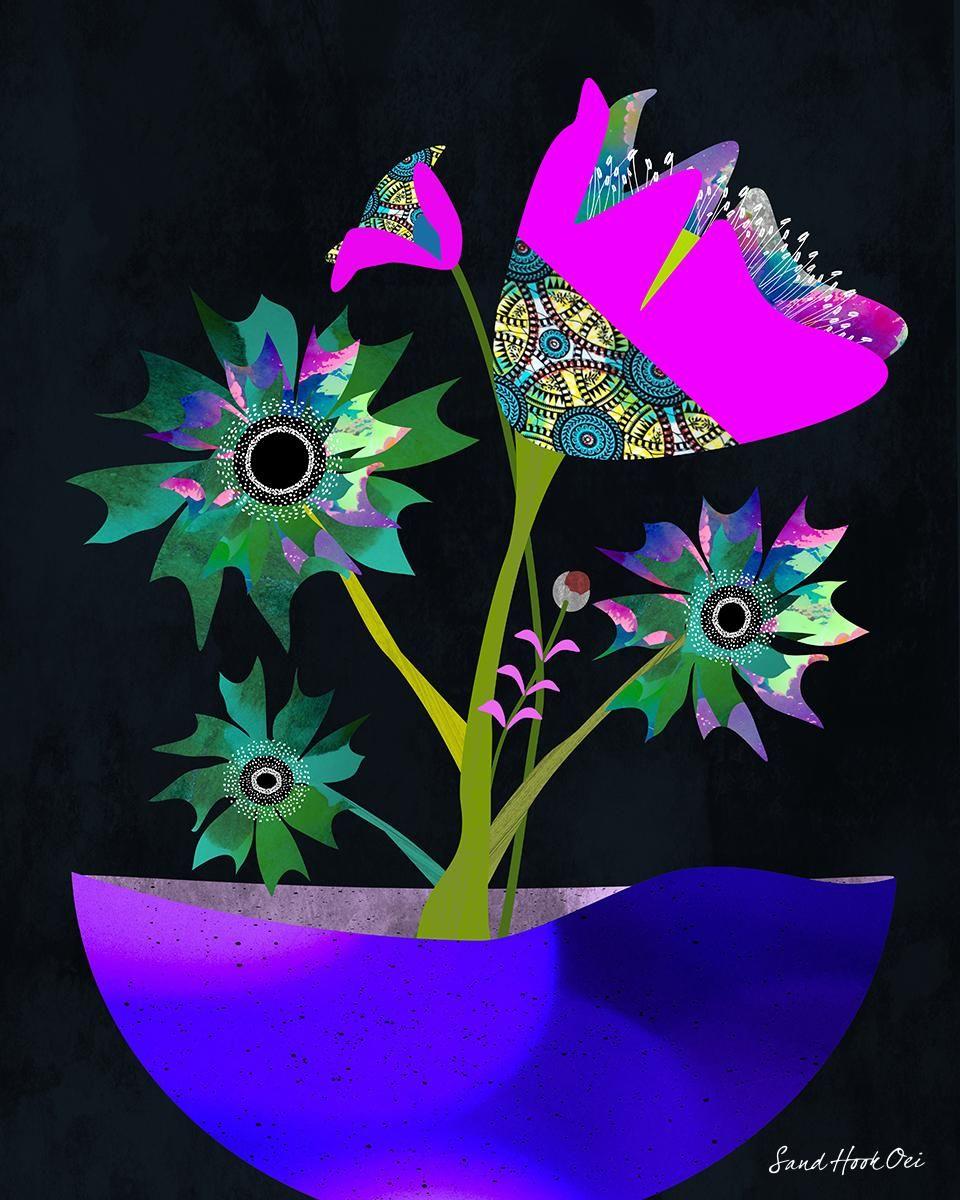 Textured Florals -Affinity Designer - image 1 - student project
