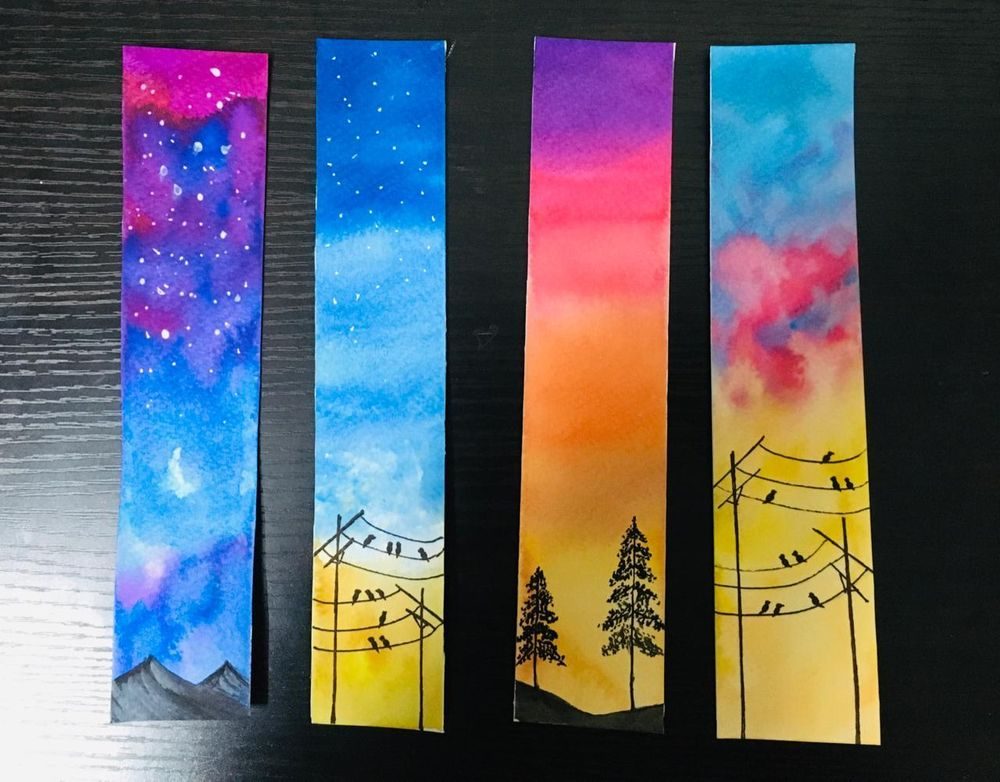 watercolor skies bookmarks - image 1 - student project