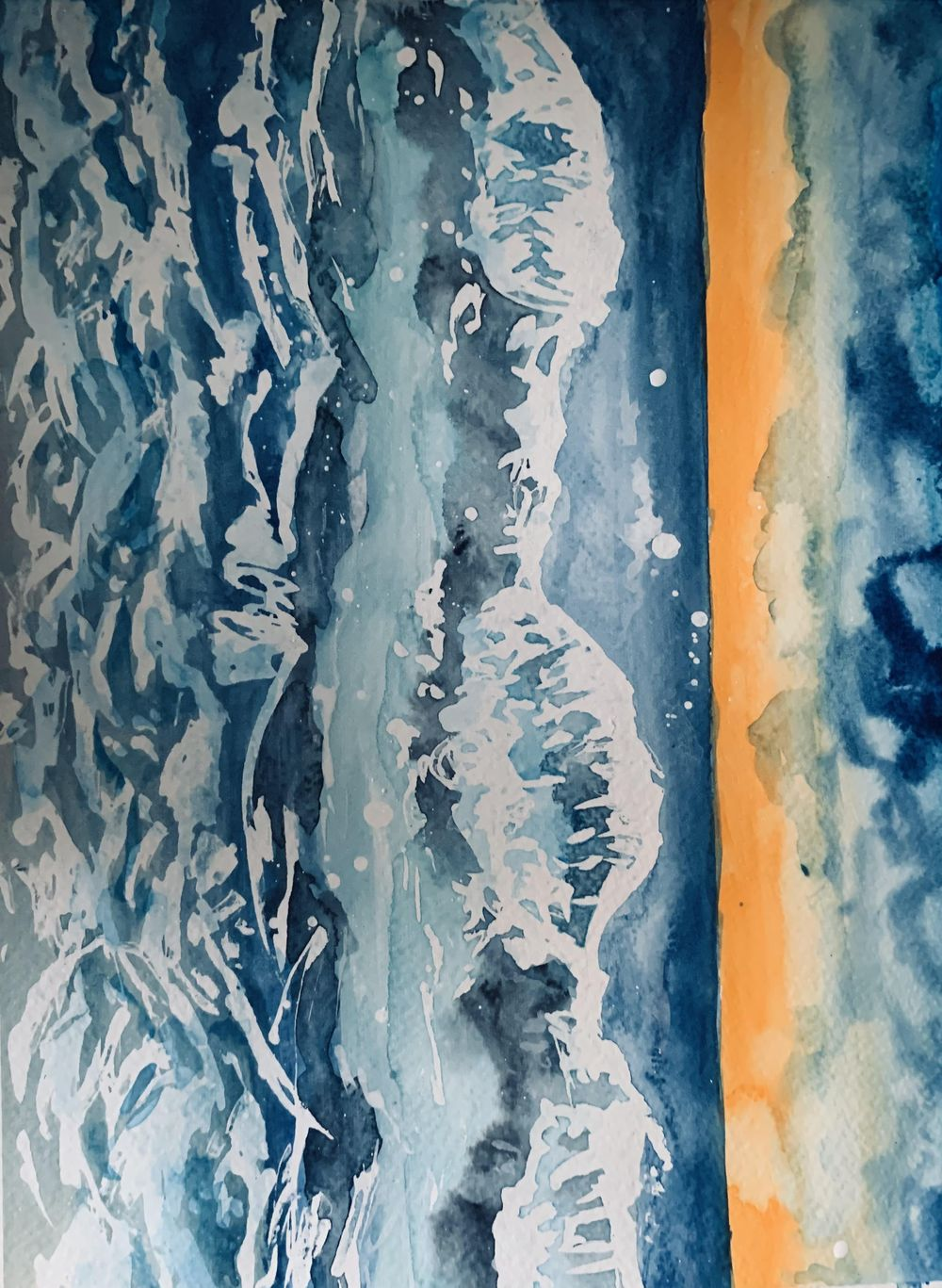 Watercolor ocean waves 2 - image 2 - student project