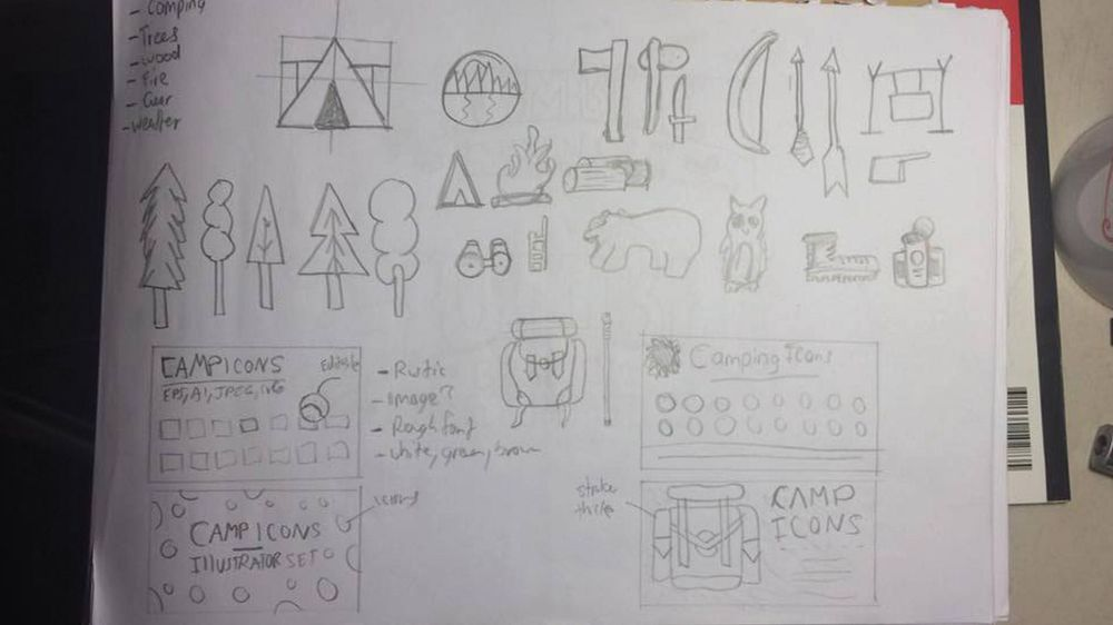 Outdoor Camping Icon Set Cover - image 2 - student project