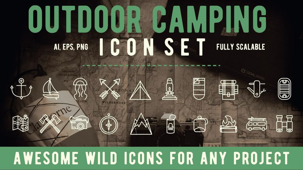 Outdoor Camping Icon Set Cover - image 3 - student project