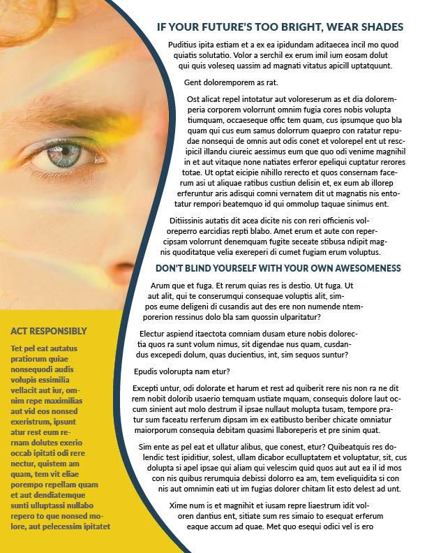 30 Days 30 InDesign Classes - Class 2 - Bright Future Newsletter - image 1 - student project