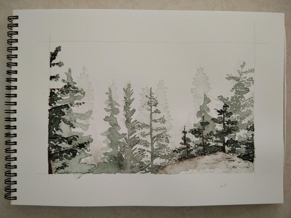 Watercolor pines - image 2 - student project