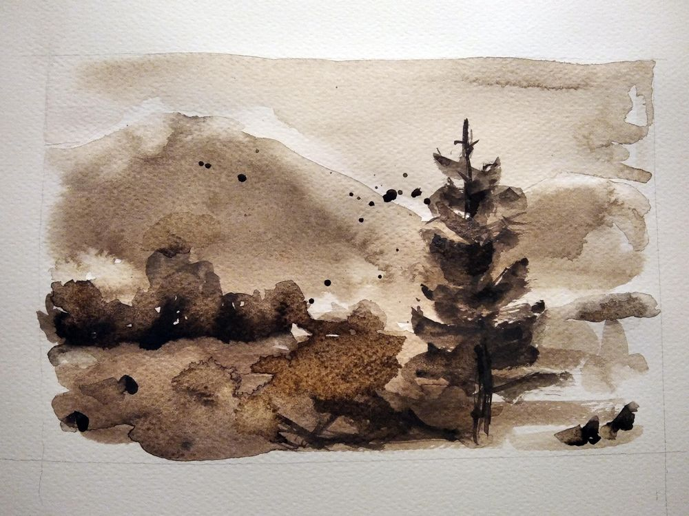 Simple Watercolor Landscapes, loose and monochromatic artwork - image 2 - student project