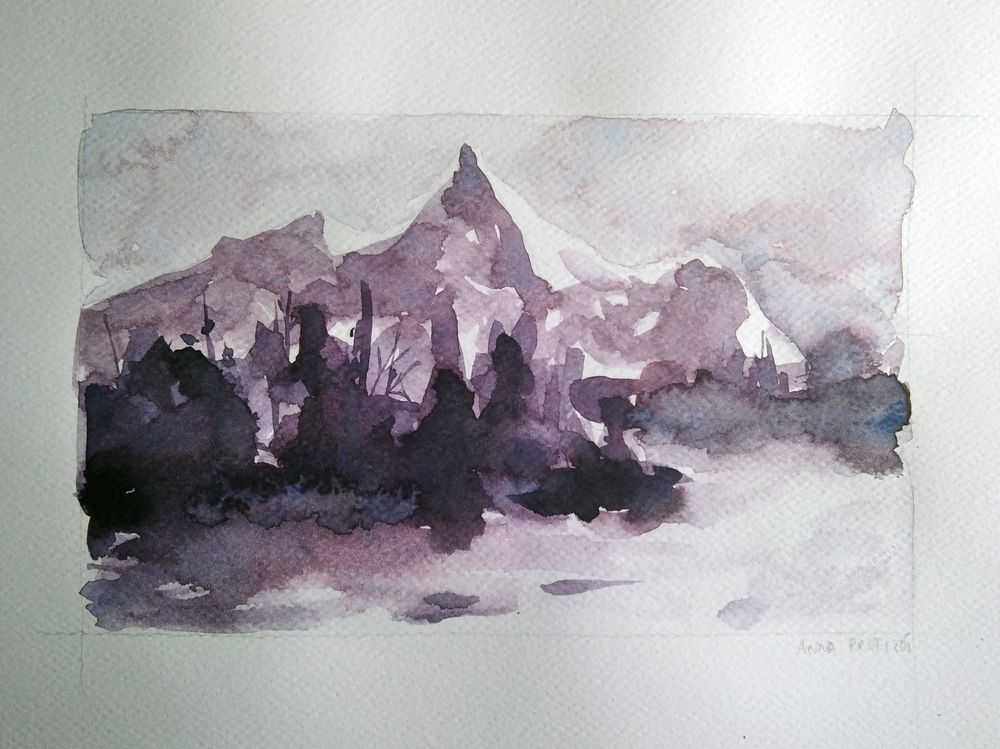 Simple Watercolor Landscapes, loose and monochromatic artwork - image 3 - student project