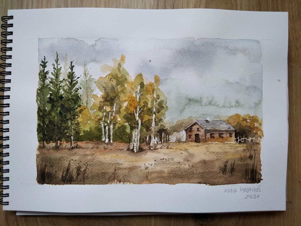 Painting a landscape in watercolor - image 1 - student project