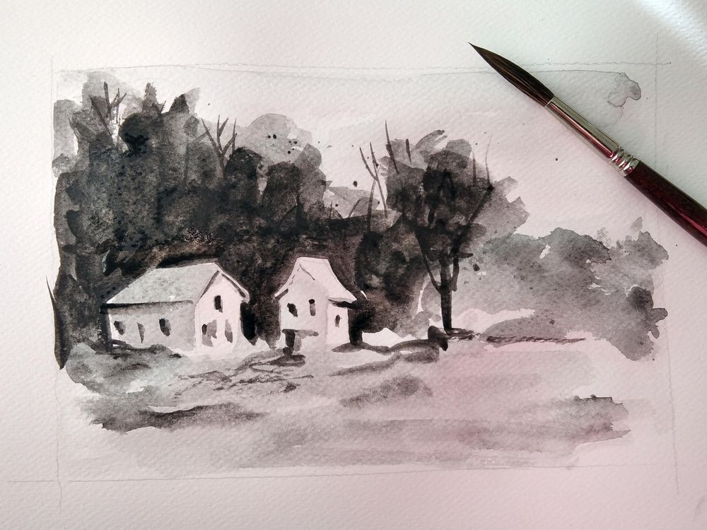 Simple Watercolor Landscapes, loose and monochromatic artwork - image 1 - student project