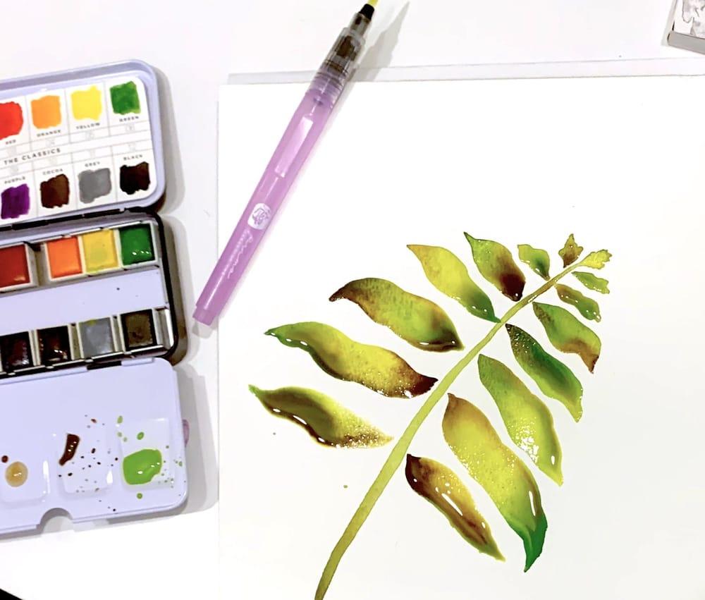 Watercolor Techniques - Leaf - image 2 - student project