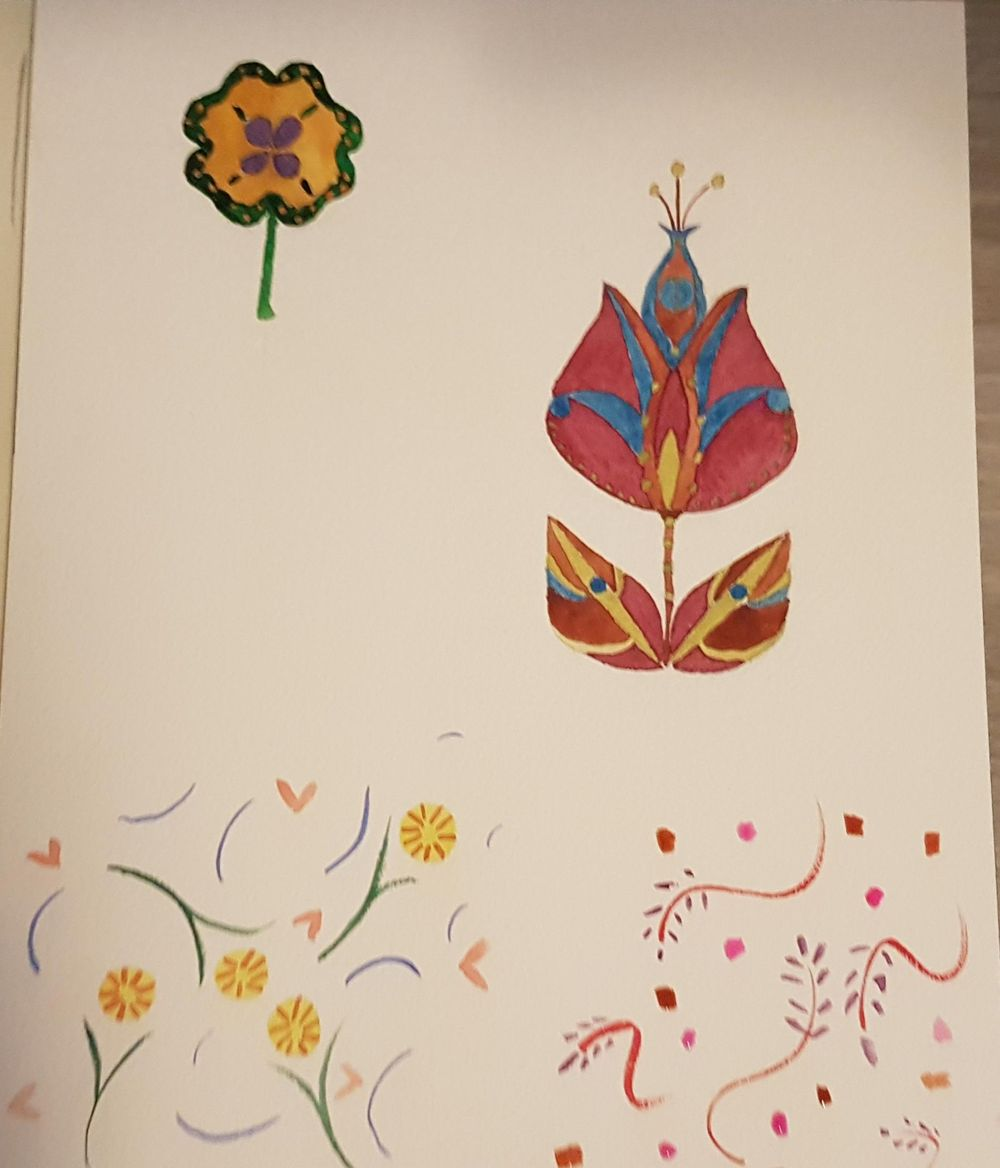 Folkart attempt and small pattern play - image 1 - student project