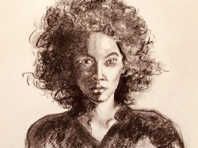 Split light portrait charcoal - image 1 - student project