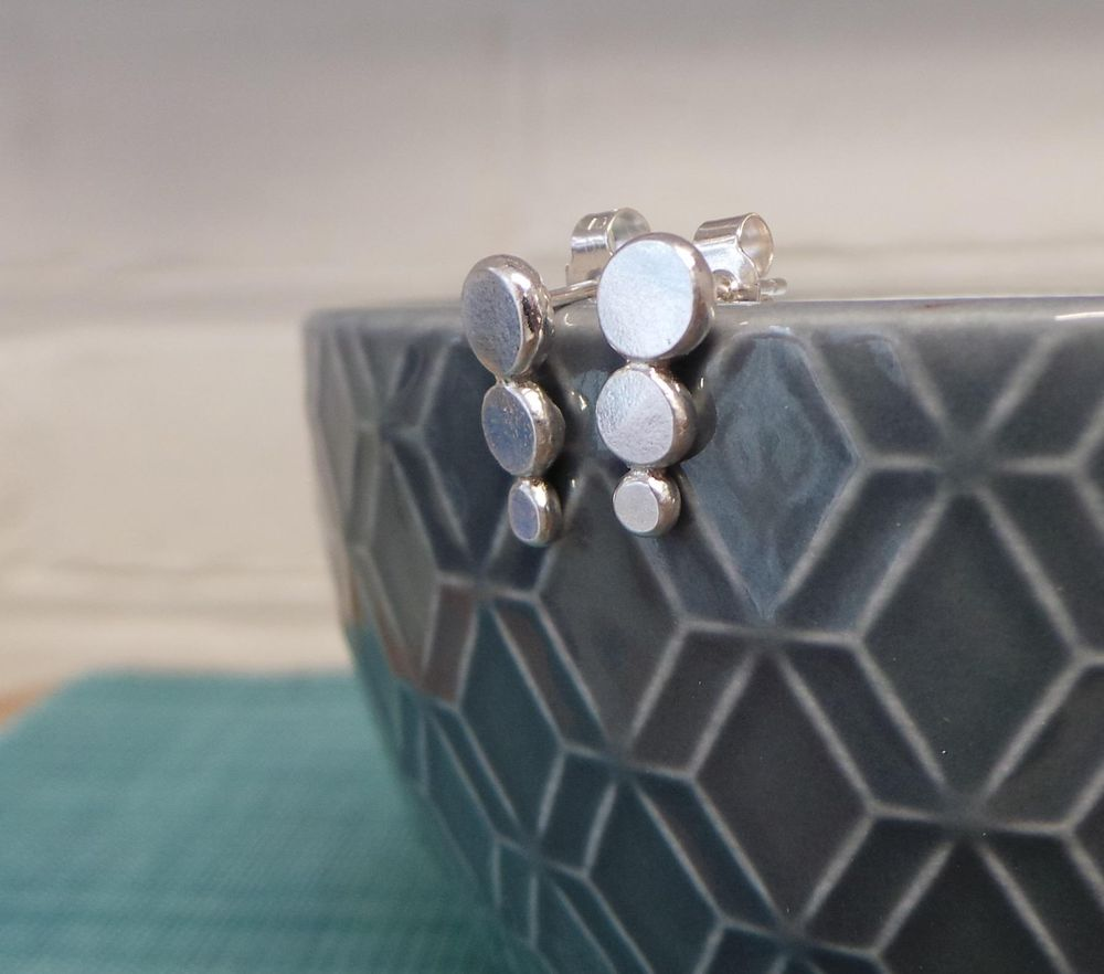 Rustic Hammered Stud Earrings - image 3 - student project