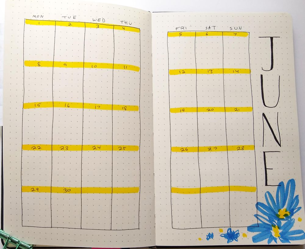 June Bullet Journal Layout - image 2 - student project