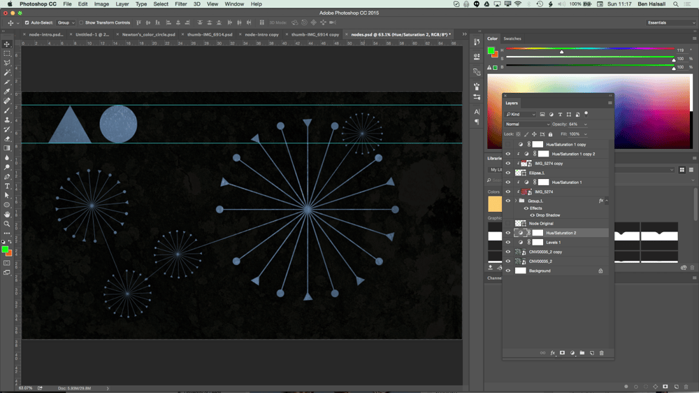 My Node Design with Triangles, Circles, Textures and Hue/Saturation adjustment layers. - image 9 - student project