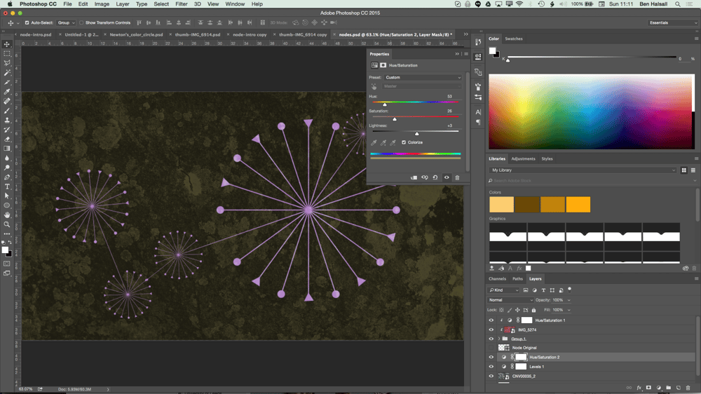 My Node Design with Triangles, Circles, Textures and Hue/Saturation adjustment layers. - image 8 - student project