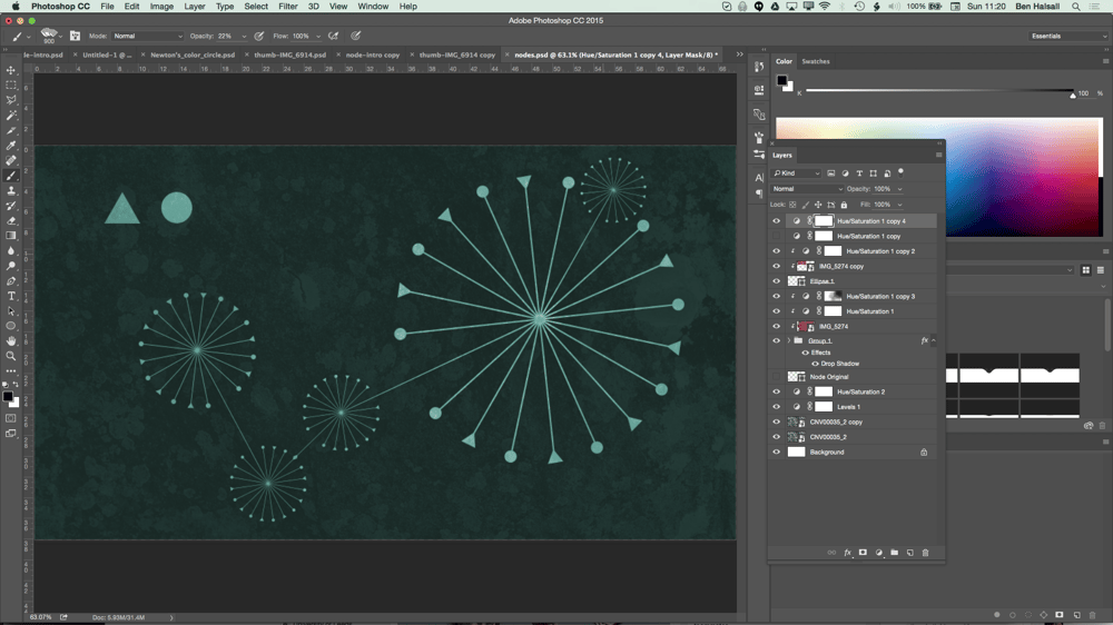 My Node Design with Triangles, Circles, Textures and Hue/Saturation adjustment layers. - image 11 - student project