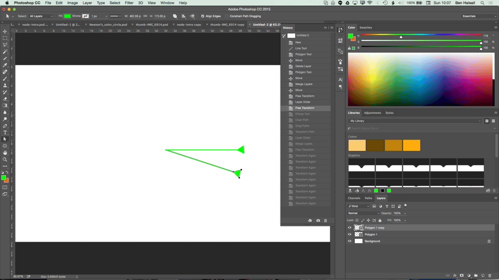 My Node Design with Triangles, Circles, Textures and Hue/Saturation adjustment layers. - image 3 - student project