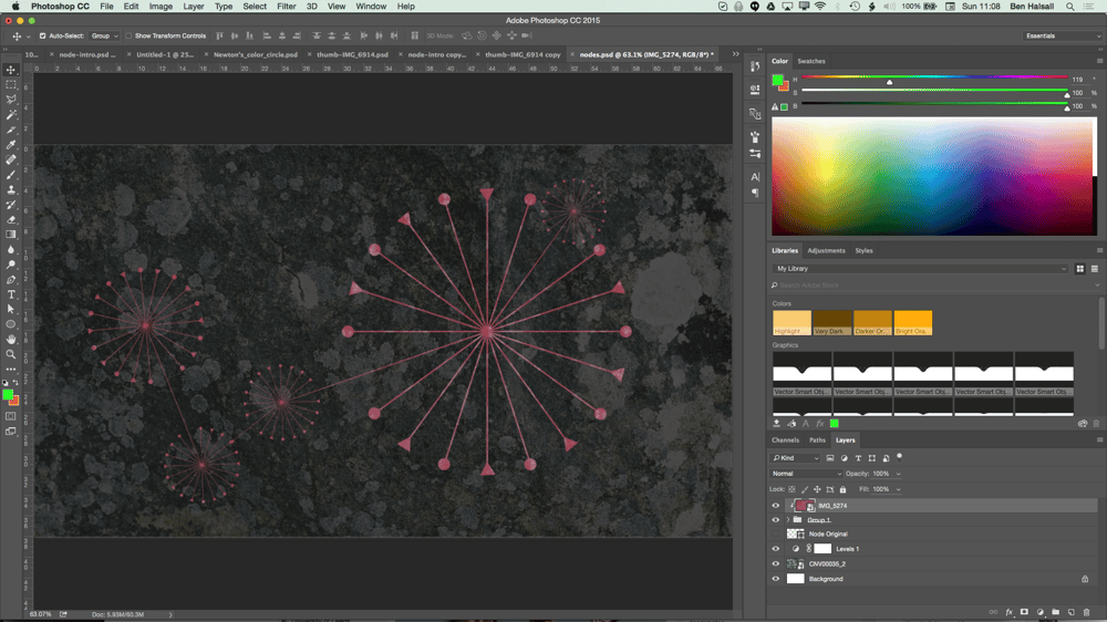My Node Design with Triangles, Circles, Textures and Hue/Saturation adjustment layers. - image 7 - student project