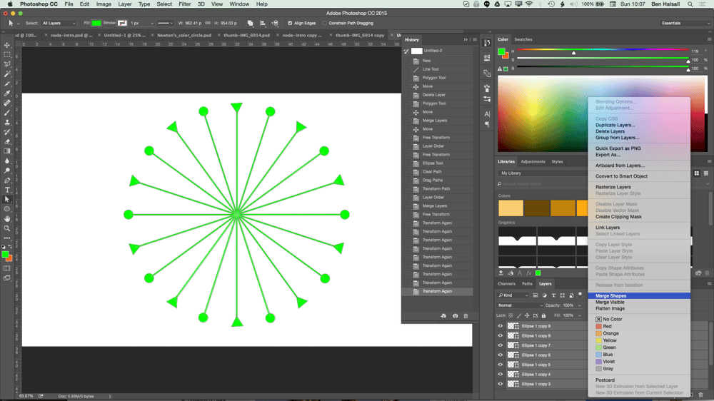 My Node Design with Triangles, Circles, Textures and Hue/Saturation adjustment layers. - image 4 - student project