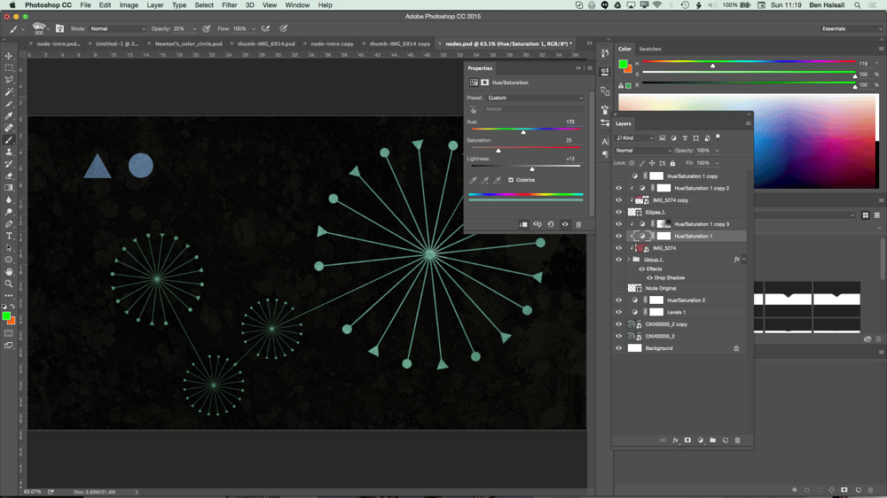 My Node Design with Triangles, Circles, Textures and Hue/Saturation adjustment layers. - image 10 - student project
