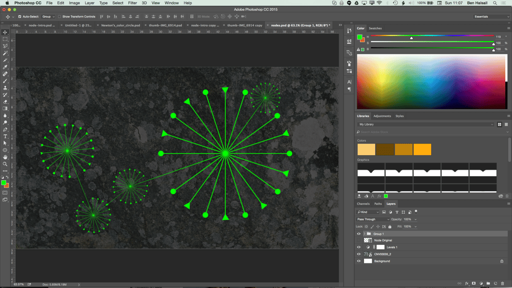 My Node Design with Triangles, Circles, Textures and Hue/Saturation adjustment layers. - image 5 - student project