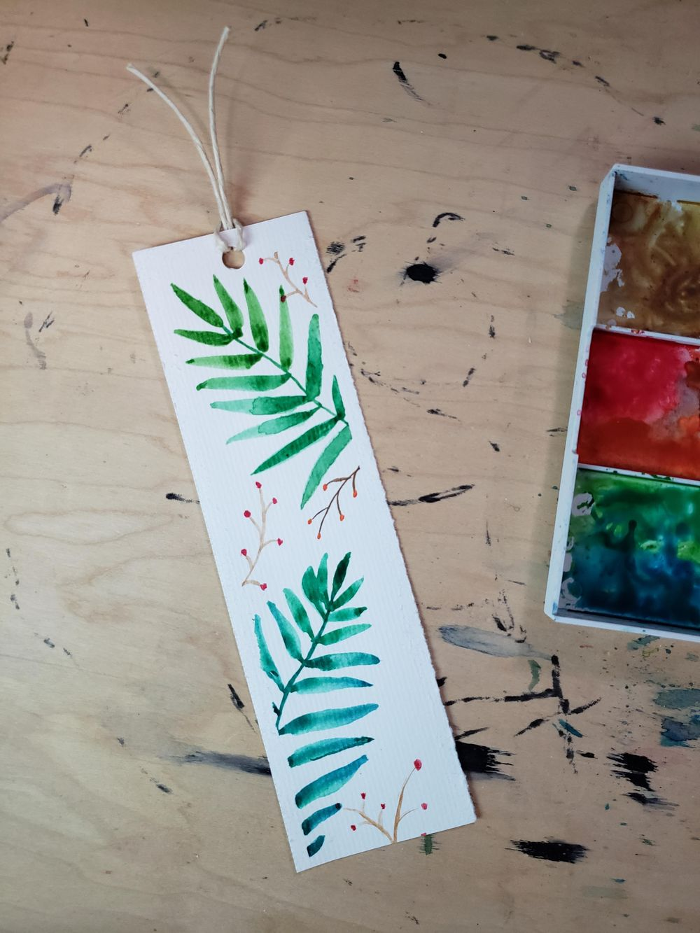 Leafy Watercolour Bookmark - image 1 - student project
