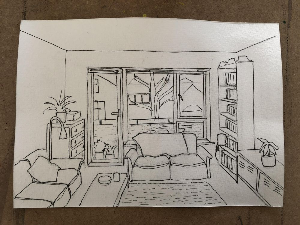 Interior sketching - one point perspective - image 2 - student project