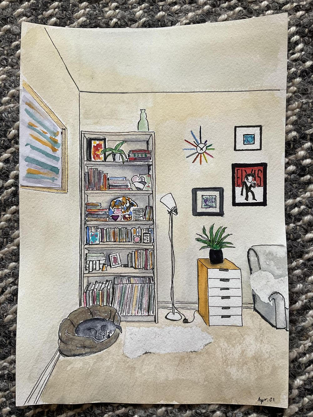 Interior sketching - one point perspective - image 7 - student project