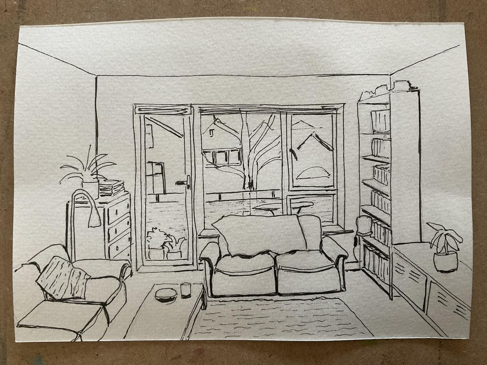 Interior sketching - one point perspective - image 3 - student project