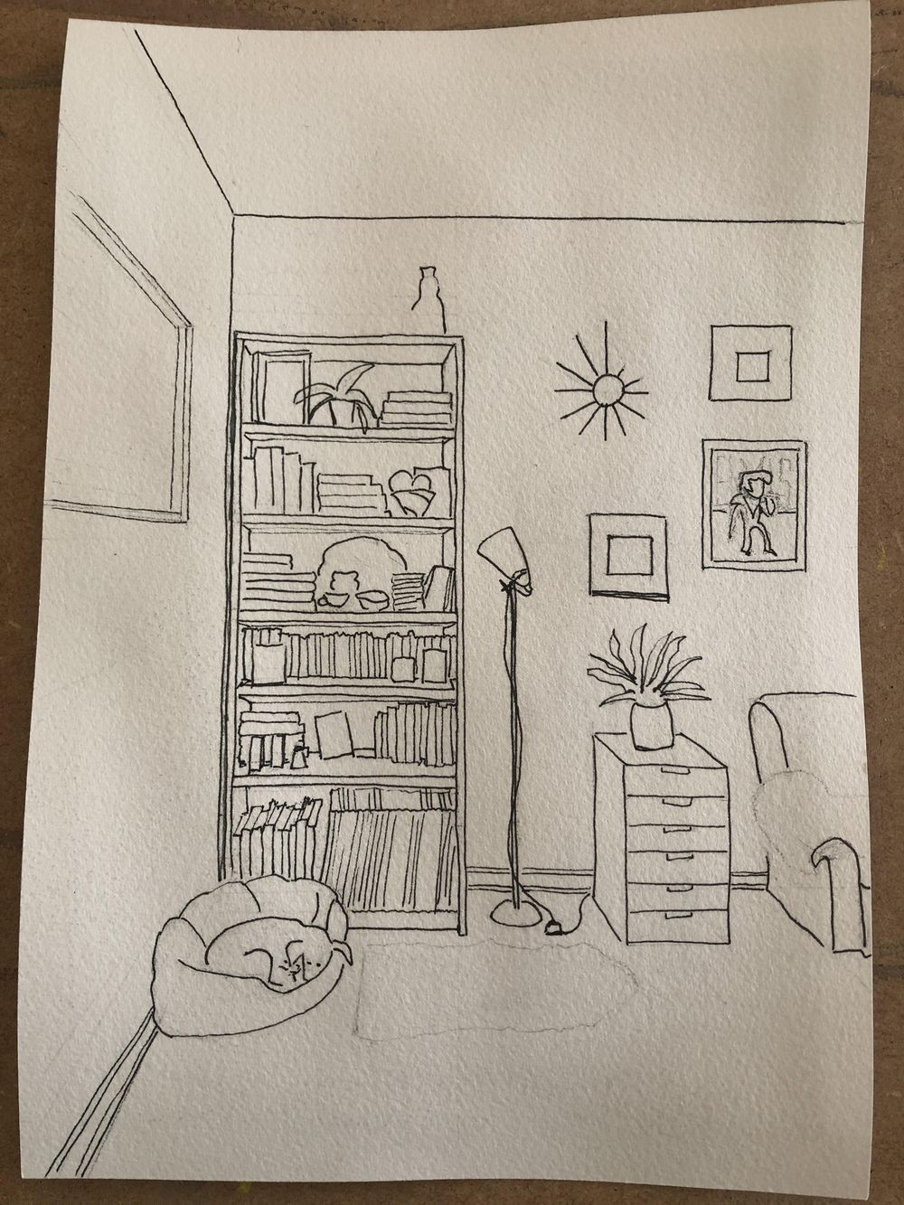 Interior sketching - one point perspective - image 6 - student project