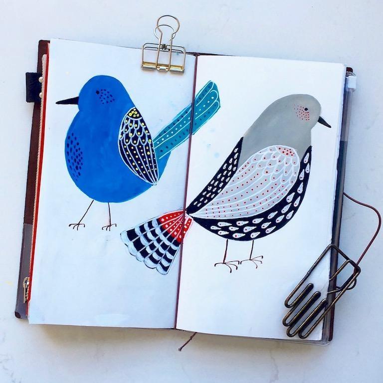 Folk art birds in gouache - image 1 - student project