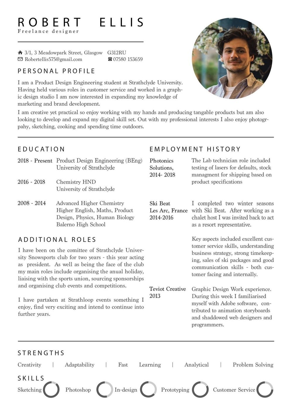 Personal CV - image 1 - student project