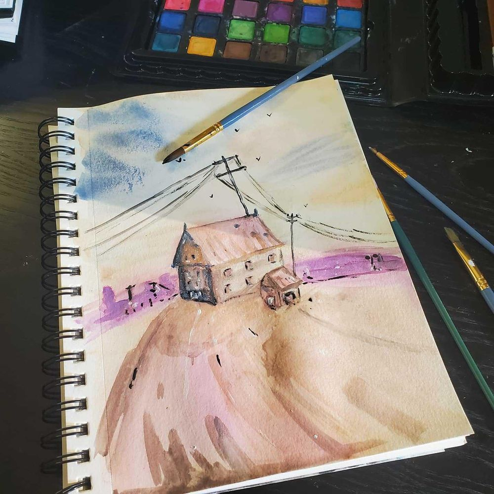 Watercolor building and poles - image 1 - student project