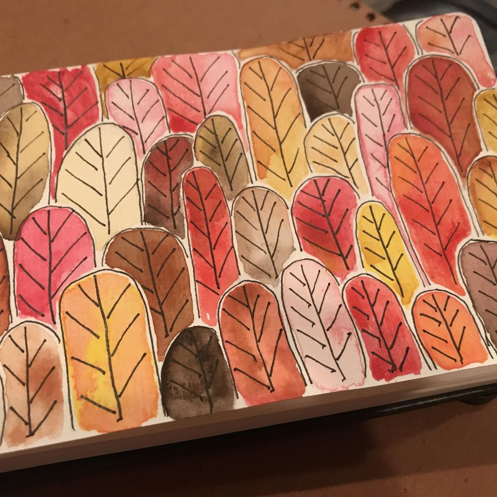 Forest of Feathers and Leaves - warm tones - image 2 - student project