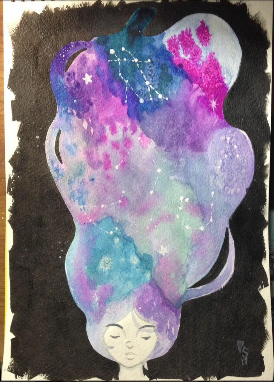 Monochrome girl, Jellyfish and Galaxy hair  - image 3 - student project