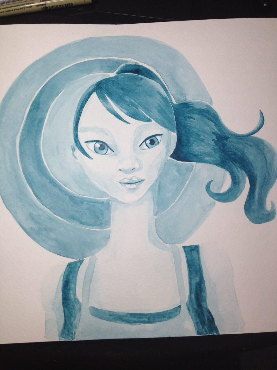 Monochrome girl, Jellyfish and Galaxy hair  - image 1 - student project