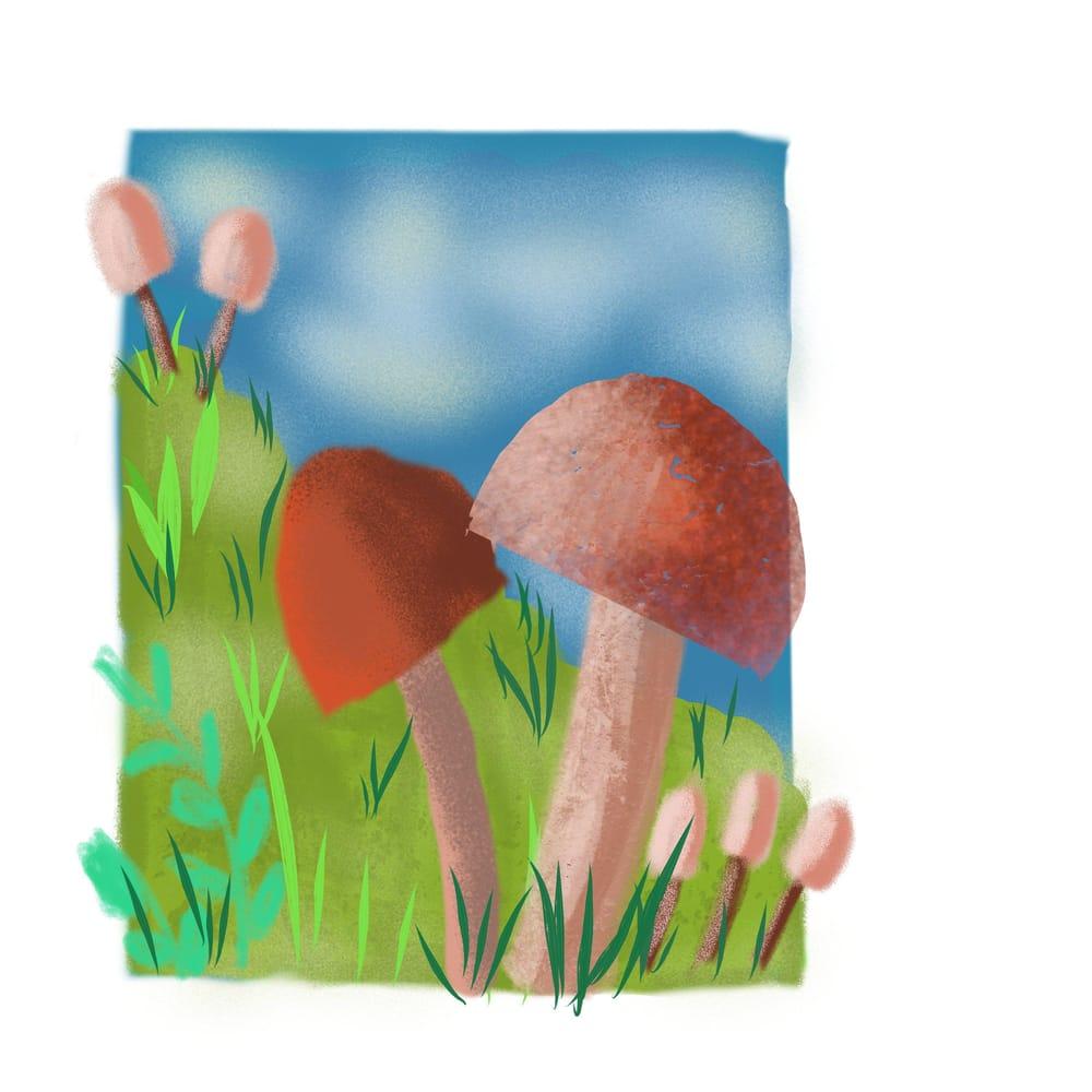 Mushrooms - 3 different ways (watercolor, pixel, vector) - image 2 - student project