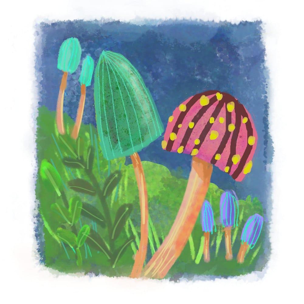 Mushrooms - 3 different ways (watercolor, pixel, vector) - image 1 - student project