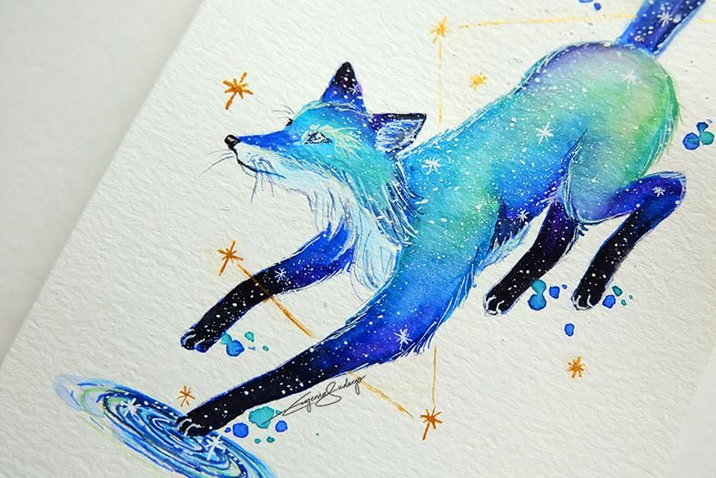 Galaxy Animal Painting With Watercolor and Gouache - image 1 - student project